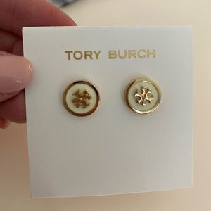 Tory Burch Logo Stud Earrings Ivory and Gold
